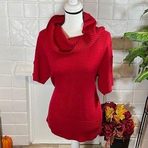 Red Short Sleeve Turtleneck Sweater
